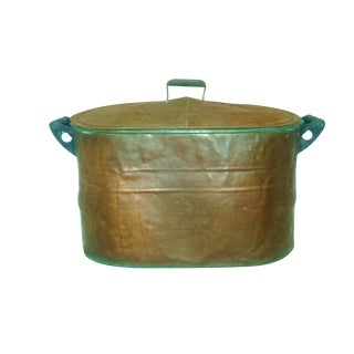 Victorian Rustic Copper Wood Handles Tub Boiler