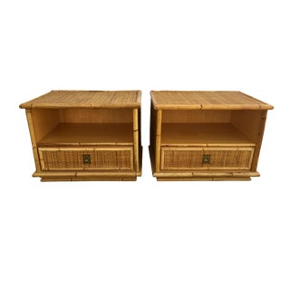 Mid Century Modern Rattan Nightstands or Side Tables