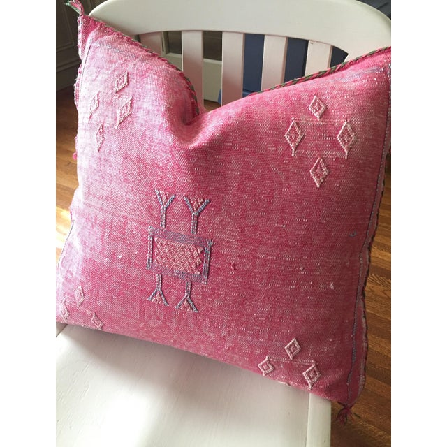 Pink Cactus Silk Moroccan Kilim Pillow Cover - Image 7 of 7
