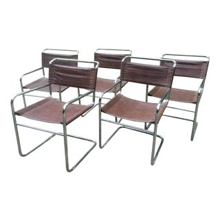 Vintage Mod Chrome & Leather Chairs - S/5