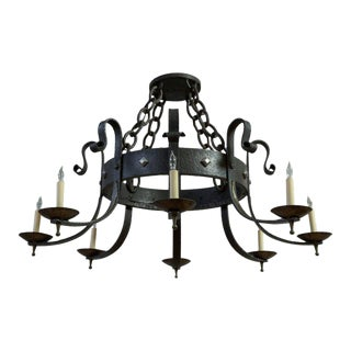1940's Round Wrought Iron Chandelier with 8 Arms