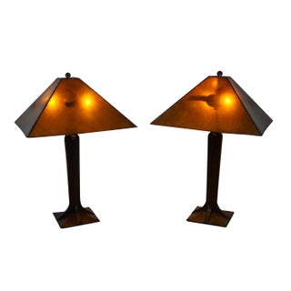 Stickley Mission Table Lamps With Mica Shades - A Pair
