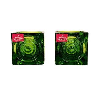 Viking Glass Bullseye Cube Tea Light Candle Holders- A Pair