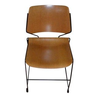 Dining Room Chair with Oak Veneer Seat and Back and Steel Frame