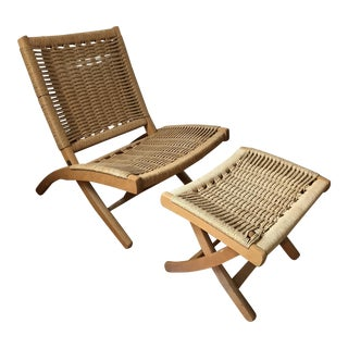 Hans Wegner Style Rope Lounge Chair & Ottoman - A Pair