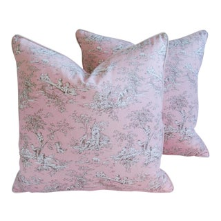 Designer French Pink Toile & Velvet Feather/Down Pillows - Pair