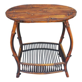 Antique Tortoise Bamboo Side Table