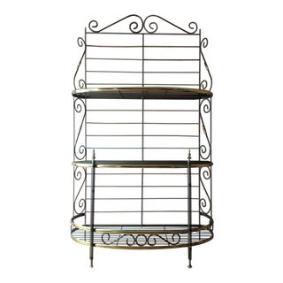 Contemporary Metal & Gold Toned Brass Three-Tier Baker's Rack