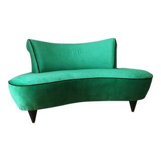 Vintage Vladimir Kagan-Style Hollywood Regency Kelly Green Curved Settee
