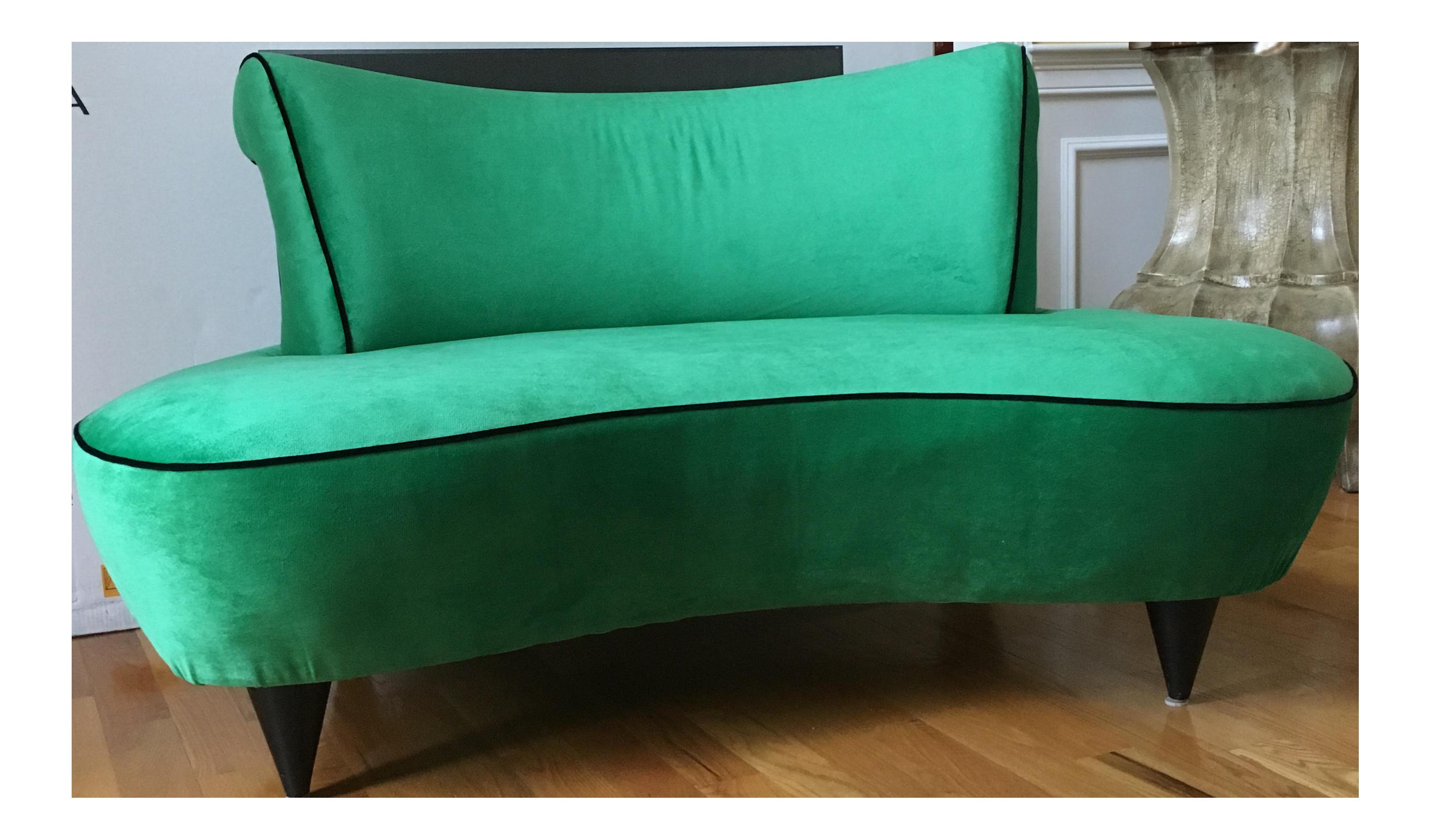 Vintage Vladimir Kagan Style Hollywood Regency Kelly Green Curved Settee