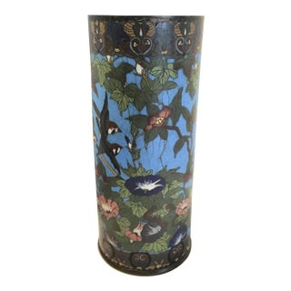 Antique Signed Birds & Morning Glories Motif Cloisonné Vase