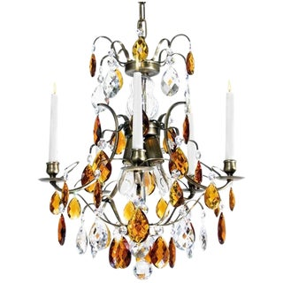Baroque Chandelier, 5 Ebony Almond Amber