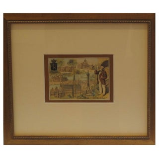 Early 1900s Framed French City Card Brussels