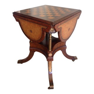 Maitland Smith Drop Leaf Leather Topped Game Table