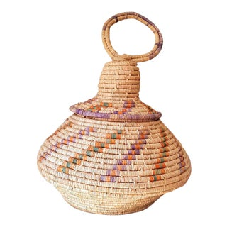 1960s Hand Woven Middle Eastern Coil Basket