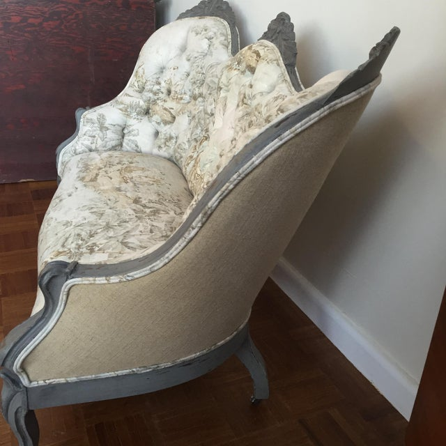 Victorian Reupholstered & Restored Walnut Settee - Image 7 of 8