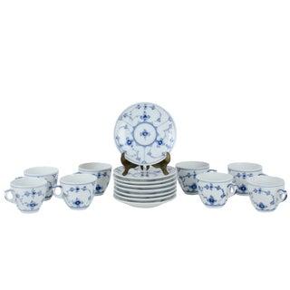 Royal Copenhagen Blue Fluted Plain Demitasse Cups & Saucers - Set of 8