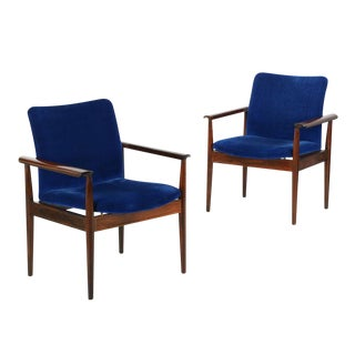 "Finn Juhl for John Stuart ""Diplomat"" Rosewood Arm Chairs- A Pair"