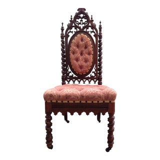 Antique Gothic Carved Hall Chair
