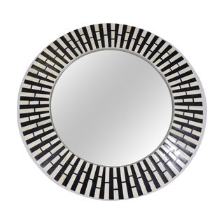 Tessellated Stone Black & White Mirror
