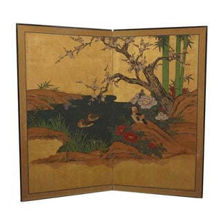 "Japanese ""Ducks and Pond"" 2-Panel Screen"