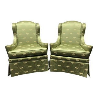 Sherrill of Hickory Wing Chairs with Green Dragonfly Upholstery - A Pair
