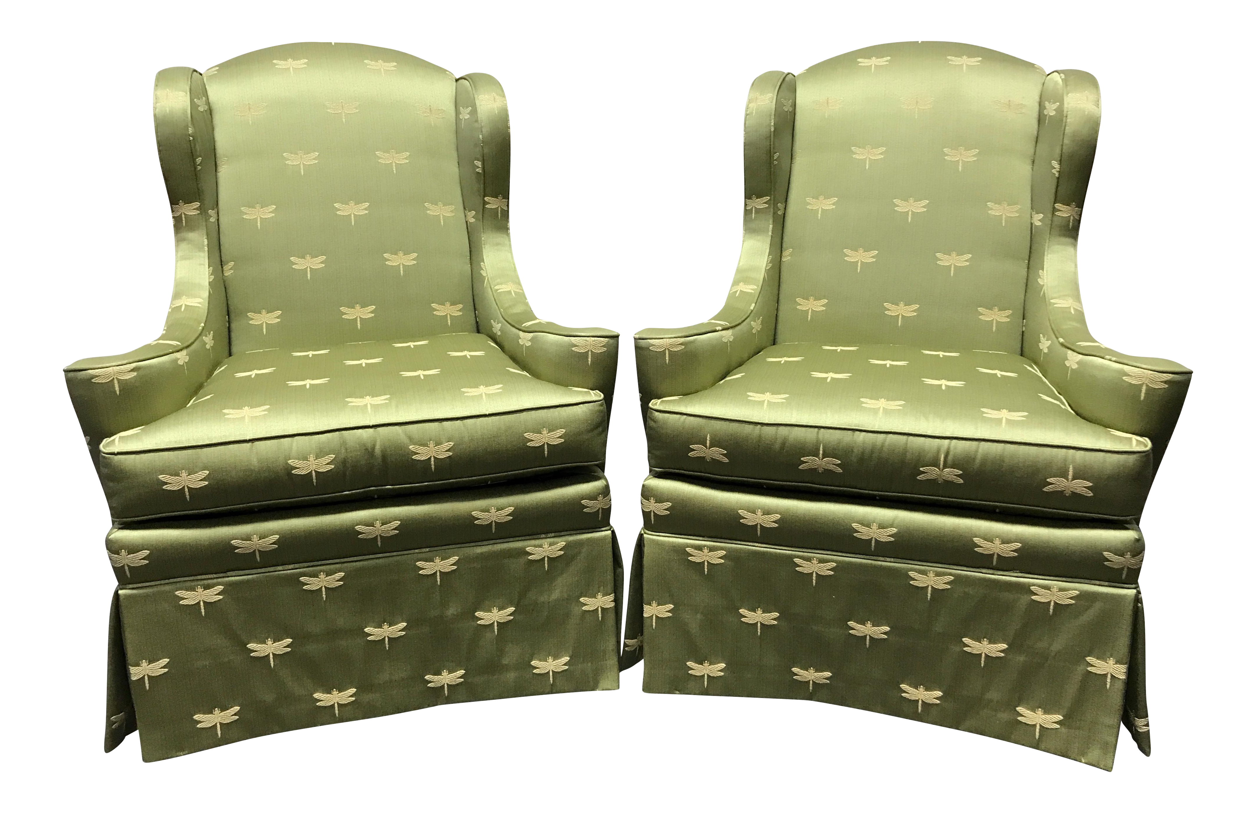 sherrill of hickory wing chairs with green dragonfly upholstery a pair