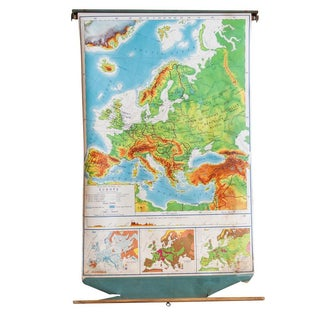 Vintage Europe Pull Down Map