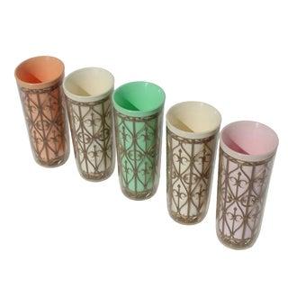 Vintage Regency Barware - Pastel Tumblers - S/5