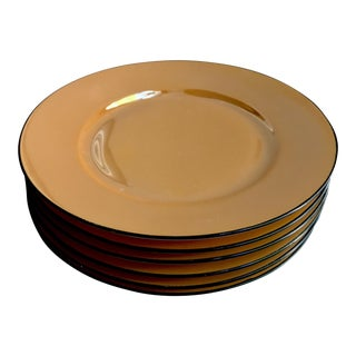 Art Deco Steubenville German Orange Lustreware Plates - Set of 6