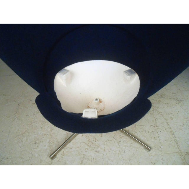 Pair Sculptural Modern Wingback Swivel Chairs - Image 5 of 6