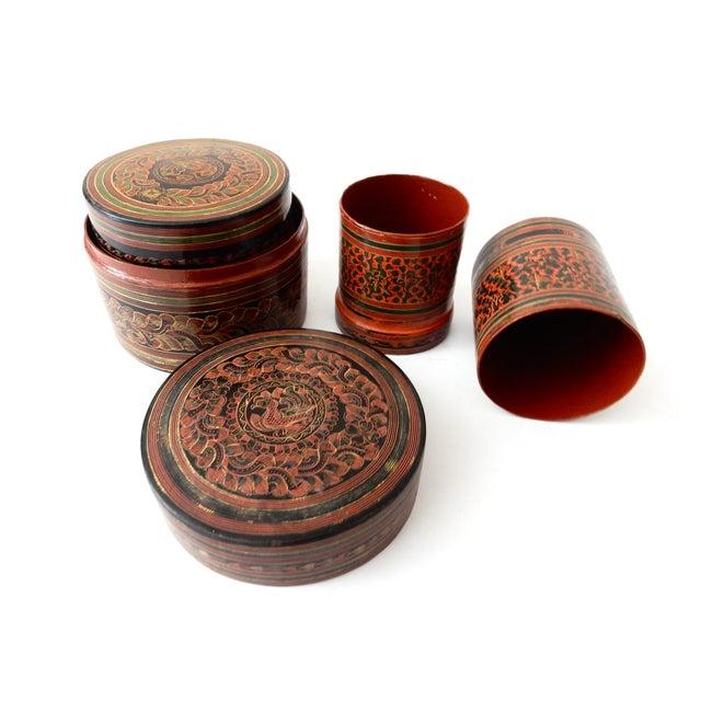 Burmese Lacquerware Betel Nut Boxes - Set of 6 - Image 2 of 8