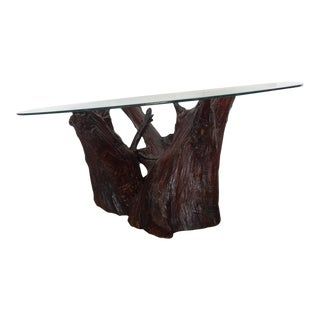 Mid-Century Tree Stump Base Glass Top Coffee Table