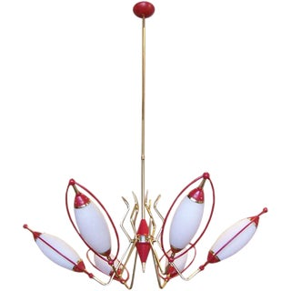 Oscar Torlasco Six-Light Red and White Cone Chandelier