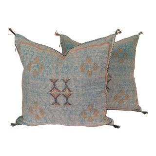 Moroccan Turquoise Berber Sabra Pillows - Pair
