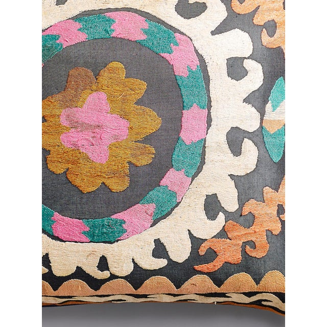 Large Suzani Pillow With Filler - Image 5 of 5