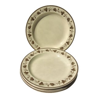 Creamware Plates With Grape Leaf Design - Set of 6