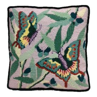 Butterflies & Foliage Needlepoint Pillow