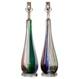 Tri-Colored Murano Lamps by Venini