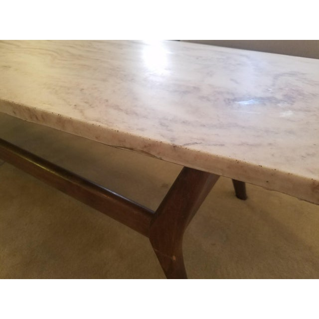 Mid-Century Marble Top Cocktail Table - Image 4 of 8