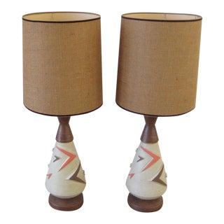 Vintage Atomic Ceramic Table Lamps - A Pair