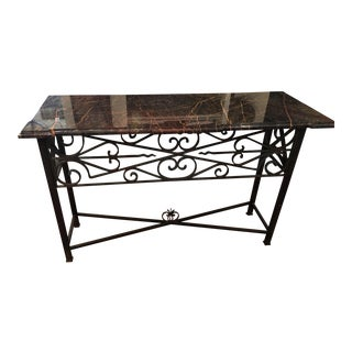 Antique Wrought Iron & Rouge Marble Top Console Table