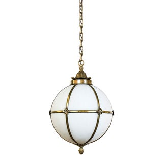 Leaded White Glass Sphere Pendant