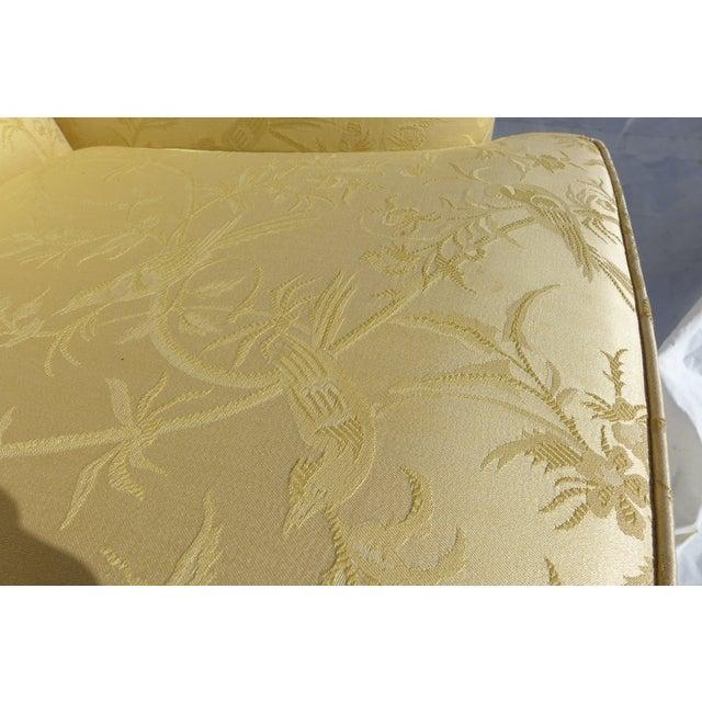 Vintage Mahogany & Yellow Damask Wingback Chair - Image 9 of 9
