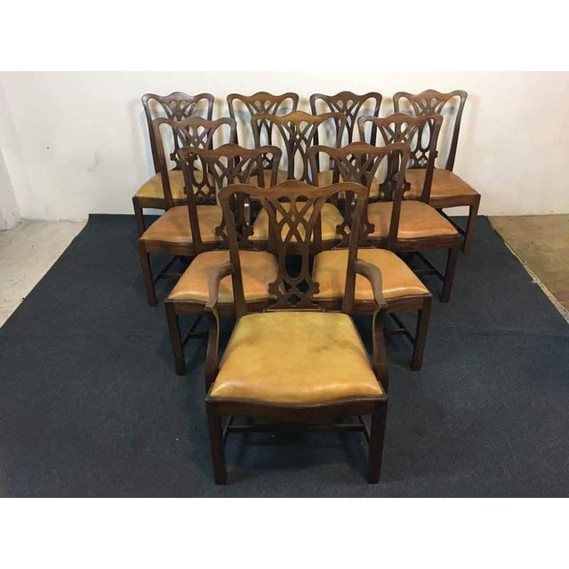 Chippendale Style Carved Mahogany Upholstered Dining Chairs - Set of 8 - Image 2 of 11