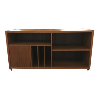 Teak Console with Slots for Record Storage