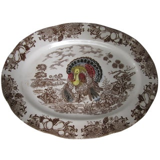 Brown Transferware Turkey Platter
