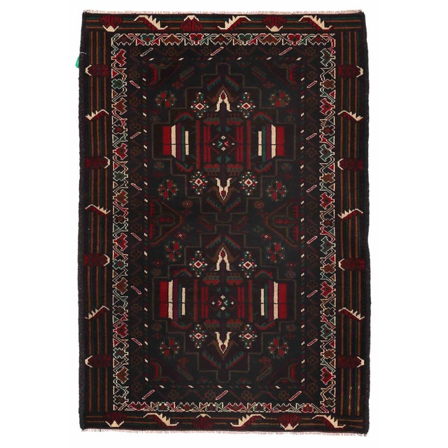 """Vintage Balouch Area Rug - 3'0"""" X 4'7"""" - Image 1 of 2"""