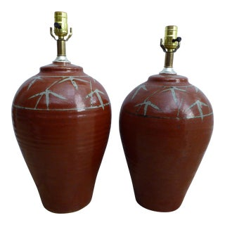 Vintage Studio Pottery Table Lamps - A Pair