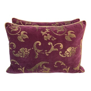 Gold Stenciled Eggplant Velvet Pillows - A Pair
